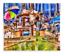 Chico Sail Boat By Diana Sainz Fleece Blanket