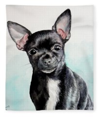 Chihuahua Black Fleece Blanket