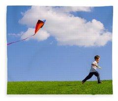 Child Flying A Kite Fleece Blanket