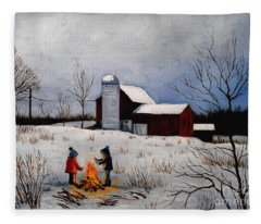 Children Warming Up By The Fire Fleece Blanket