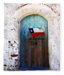 Chilean Flag On Church Door Fleece Blanket
