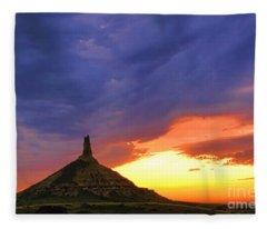 Chimney Rock Nebraska Fleece Blanket