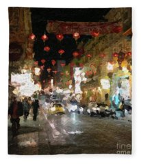 China Town At Night Fleece Blanket