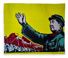 Chinese Communist Propaganda Poster Art With Mao Zedong Shanghai China Fleece Blanket