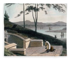 Chinese Tomb With Two Mourners Fleece Blanket