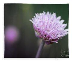 Chives Flower Macro Fleece Blanket