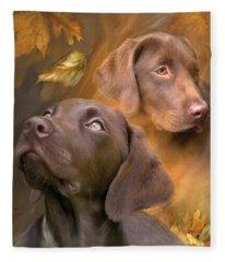 Chocolate Lab Fleece Blanket