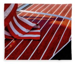 Chris Craft With American Flag Fleece Blanket