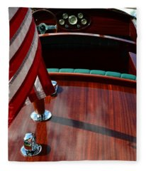Chris Craft With Flag And Steering Wheel Fleece Blanket