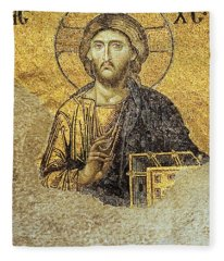 Christ Pantocrator-detail Of Deesis Mosaic Hagia Sophia-judgement Day Fleece Blanket