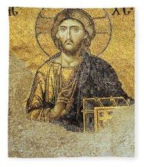 Christ Pantocrator-detail Of Deesis Mosaic Hagia Sophia-judgement Day Fleece Blanket