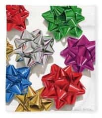 Christmas Bows And Shadows Fleece Blanket