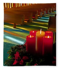 Christmas Candles At Church Art Prints Fleece Blanket