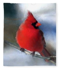 Christmas Card - Cardinal Fleece Blanket