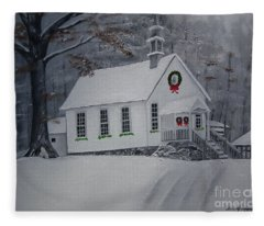Christmas Card - Snow - Gates Chapel Fleece Blanket