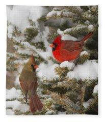 Christmas Card With Cardinals Fleece Blanket