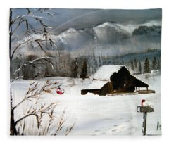 Christmas Farm House Fleece Blanket