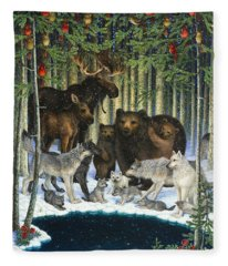 Christmas Gathering Fleece Blanket