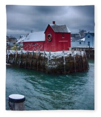 Christmas In Rockport Massachusetts Fleece Blanket