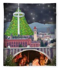 Christmas In Spokane Fleece Blanket