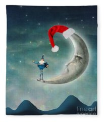 Christmas Moon Fleece Blanket