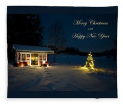 Christmas Night  Merry Christmas And Happy New Year Fleece Blanket