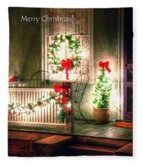 Christmas Porch Fleece Blanket