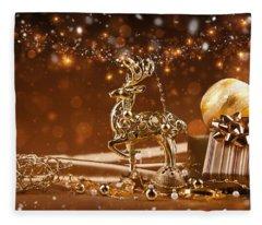 Christmas Reindeer In Gold Fleece Blanket