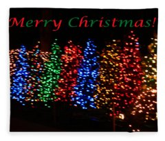 Christmas Trees Dancing In The Night Fleece Blanket
