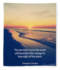 Christopher Columbus Quote Fleece Blanket
