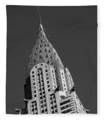 Chrysler Building Bw Fleece Blanket