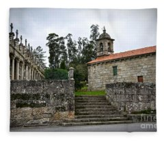 Church And Cemetery In A Small Village In Galicia Fleece Blanket