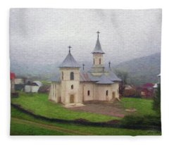 Church In The Mist Fleece Blanket