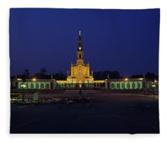 Church Lit Up At Night, Our Lady Of Fleece Blanket