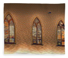 Church Windows Fleece Blanket