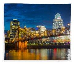 Cincinnati Downtown Fleece Blanket