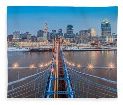 Cincinnati From On Top Of The Bridge Fleece Blanket