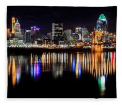Cincinnati Skyline In Christmas Colors Fleece Blanket