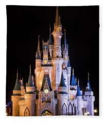 Cinderella's Castle In Magic Kingdom Fleece Blanket