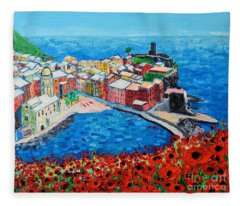 Cinque Terre Vernazza Poppies Fleece Blanket