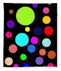 Circles On Black Fleece Blanket