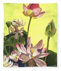Citron Lotus 1 Fleece Blanket