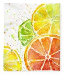 Citrus Fruit Watercolor Fleece Blanket