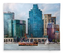 City - Baltimore Md - Harbor East  Fleece Blanket