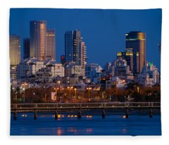 city lights and blue hour at Tel Aviv Fleece Blanket