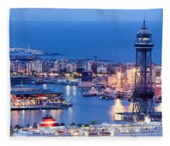 City Of Barcelona From Above At Night Fleece Blanket