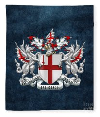 City Of London - Coat Of Arms Over Blue Leather  Fleece Blanket