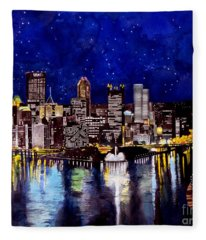 City Of Pittsburgh At The Point Fleece Blanket