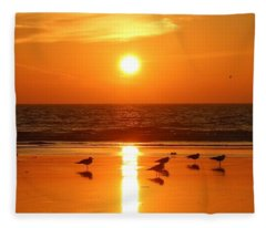 Clam Digging At Sunset - 2 Fleece Blanket