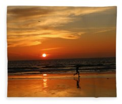 Clam Digging At Sunset - 3 Fleece Blanket